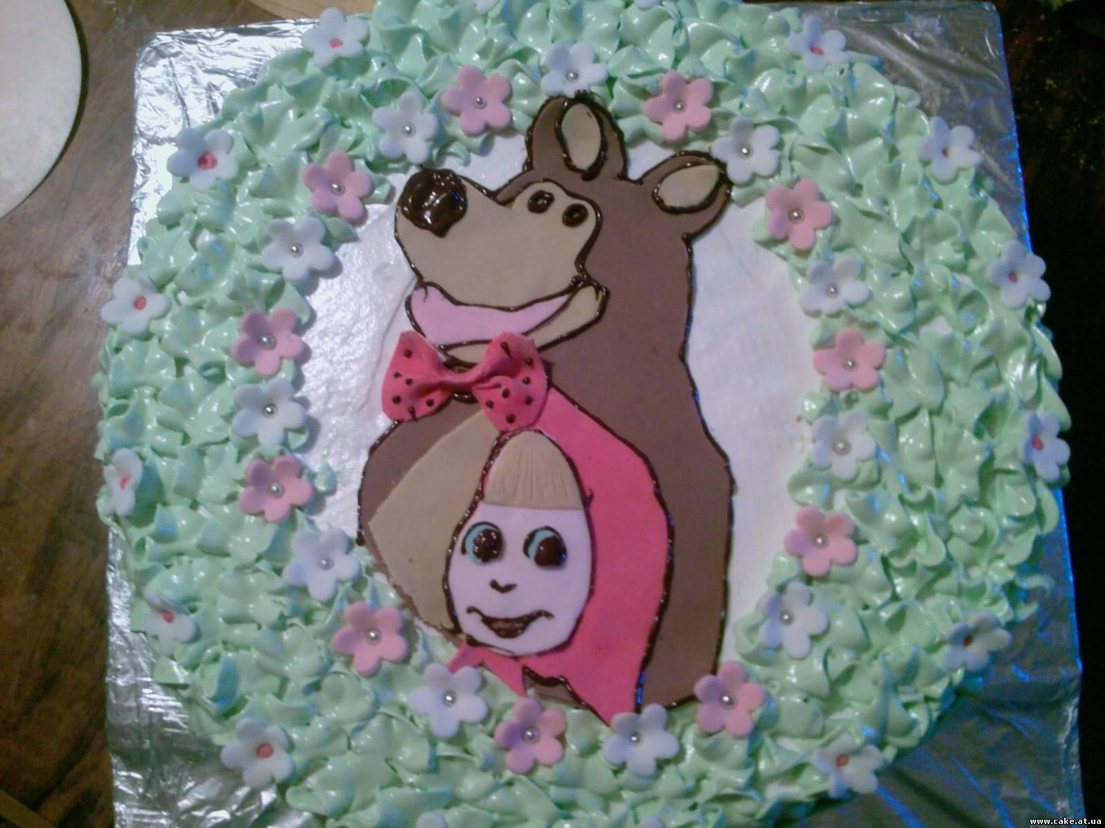 Украшение тортов маша и медведь фото с крема
